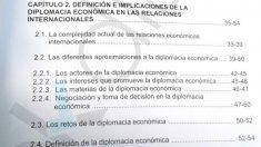Epígrafes de la tesis de Sánchez que figuran prácticamente iguales en el libro con Ocaña. (Fuente: OKDIARIO) | Tesis Pedro Sánchez