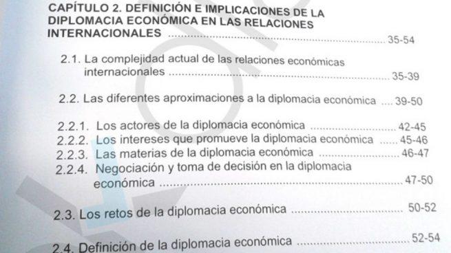 Epígrafes de la tesis de Sánchez que figuran prácticamente iguales en el libro con Ocaña. (Fuente: OKDIARIO)