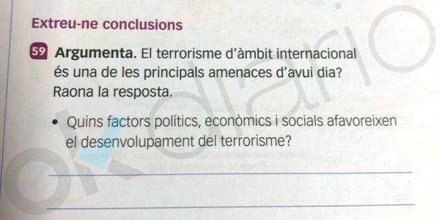 Un libro de texto para alumnos de ESO en Baleares les pide las razones que justifican el terrorismo
