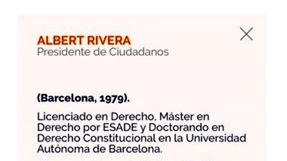 Extracto del currículo de Albert Rivera en la web de C's, en el que consta como doctorando.