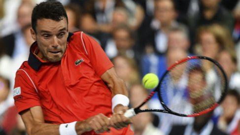 Bautista, durante un partido de la Davis. (AFP)