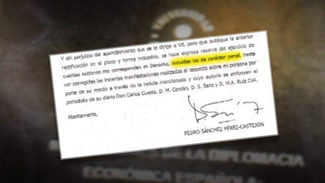 """Sánchez amenaza a Inda con """"acciones penales"""" si no se retracta de la información"""