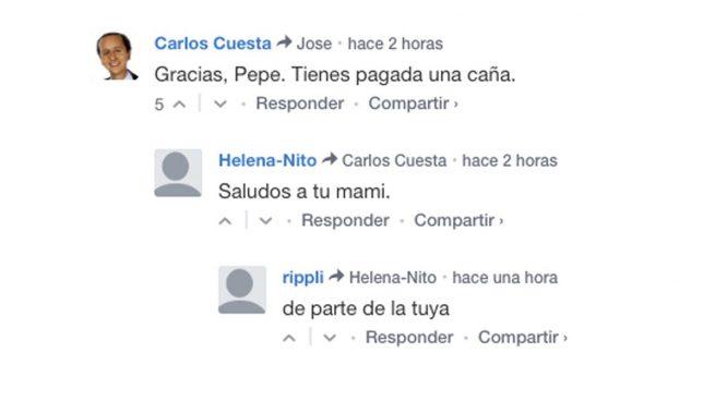 Un 'troll' suplanta la identidad de Carlos Cuesta en los comentarios de OKDIARIO