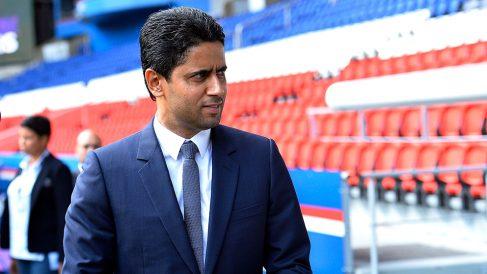 Nasser Al-Khelaifi durante una de las presentaciones de esta temporada. (Getty)