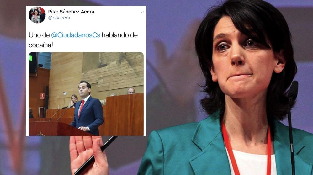 Pilar Sánchez Acera y su tuit borrado. (Foto. PSOE-M)
