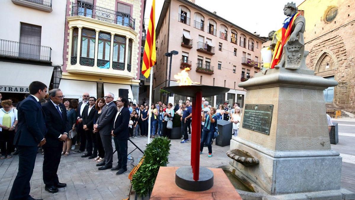 Torra durante el acto en el que ha afirmado que el objetivo es la república (Generalitat).