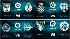 Partidos de este domingo de la Liga Santander.