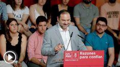 El secretario de organización del PSOE, José Luis Ábalos, este domingo en Valencia