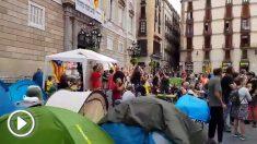 Los miembros de la acampada de los CDR en Barcelona han boicoteado la manifestación del español