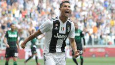 Cristiano Ronaldo celebra su primer tanto con la camiseta de la Juventus (Getty).