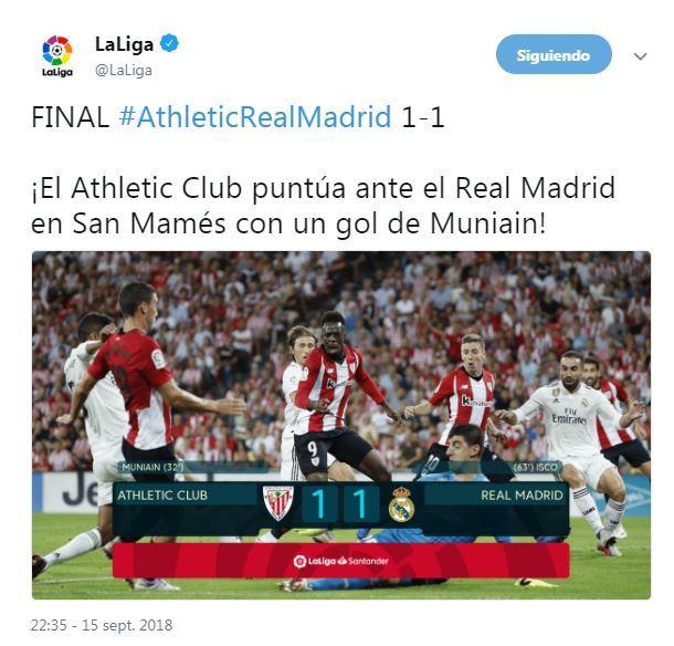 El Athletic se pica por un tuit de la Liga tras el empate con el Real Madrid