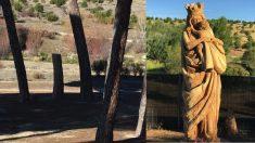 Antes y después del tocón donde se ha tallado la Virgen.