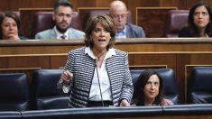 La ministra de Justicia, Dolores Delgado, durante una intervención en la sesión de control al Gobierno en el Congreso de los Diputados (Foto: Efe)