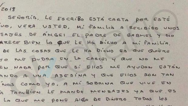 Ana Julia carga contra la familia de Gabriel en una carta al juez