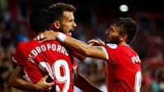 El Girona celebra un gol ante el Celta. (EFE)
