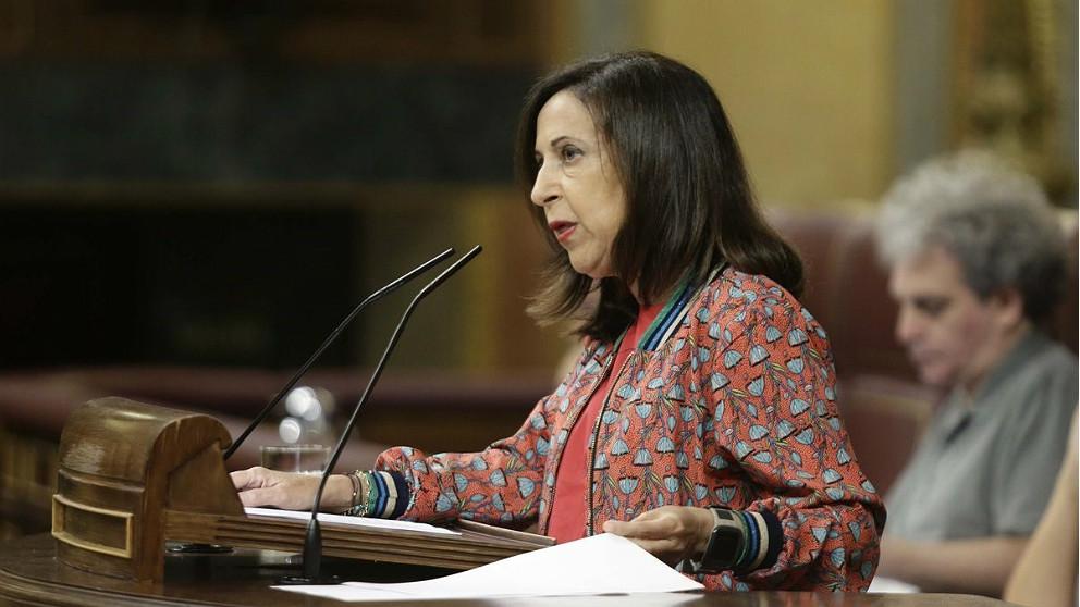 Margarita Robles, ministra de Defensa, en el Congreso de los Diputados. (EP)