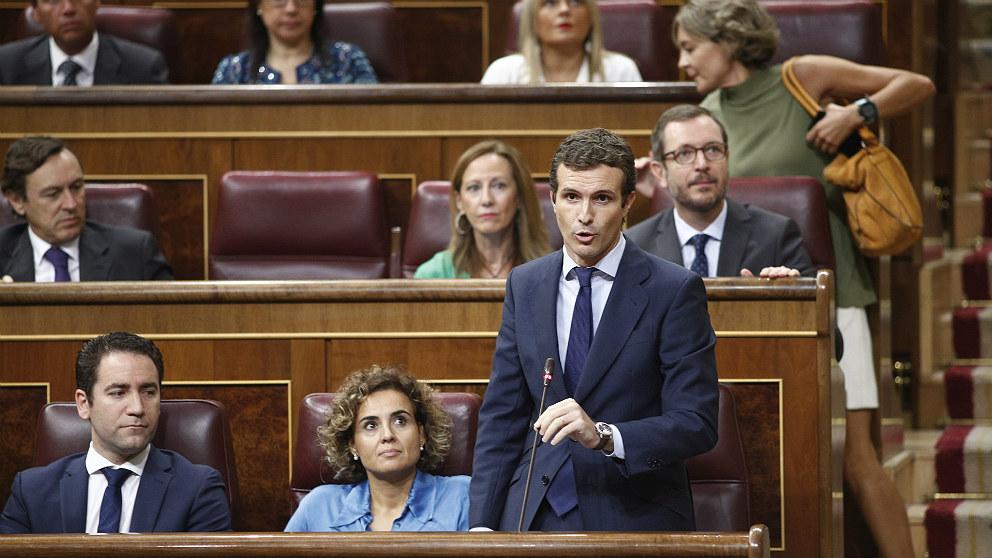 Pablo Casado, en el Congreso de los Diputados. (EP)