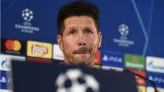 Simeone, en la rueda de prensa previa al duelo contra el Mónaco. (AFP)