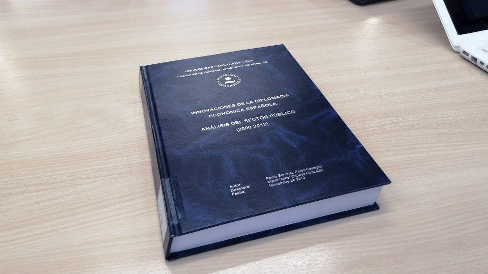 Portada de la tesis doctoral de Pedro Sánchez, depositada en la biblioteca de la Universidad Camilo José Cela (UCJC).