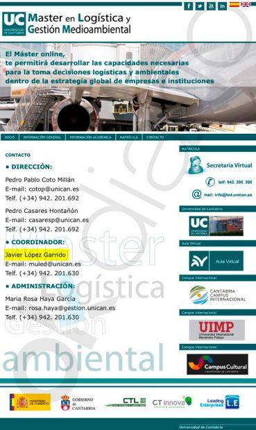 Pantallazo de la web del máster de la Universidad de Cantabria antes de que haya sido eliminado