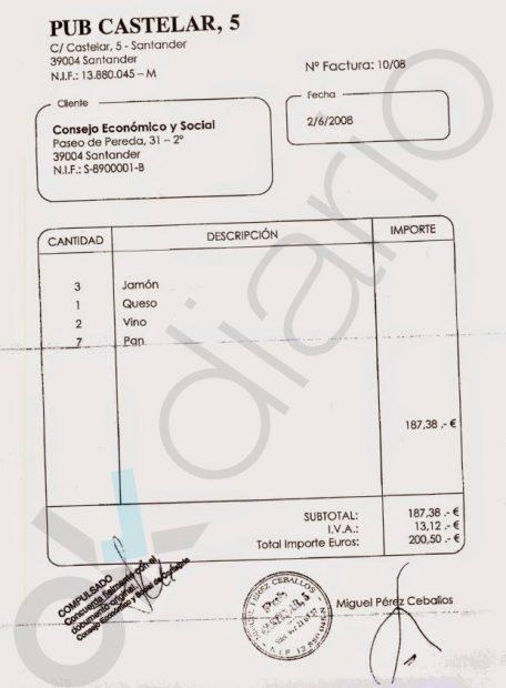 Factura de gasto de Coto Millán en comidas y alcohol con dinero público