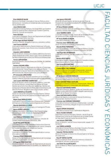 Claustro de profesores y colaboradores de la Facultad de Ciencias Jurídicas y Económicas de la UCJC en el curso 2011/2012