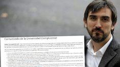Comunicado de la Universidad Complutense al periódico de  Ignacio Escolar