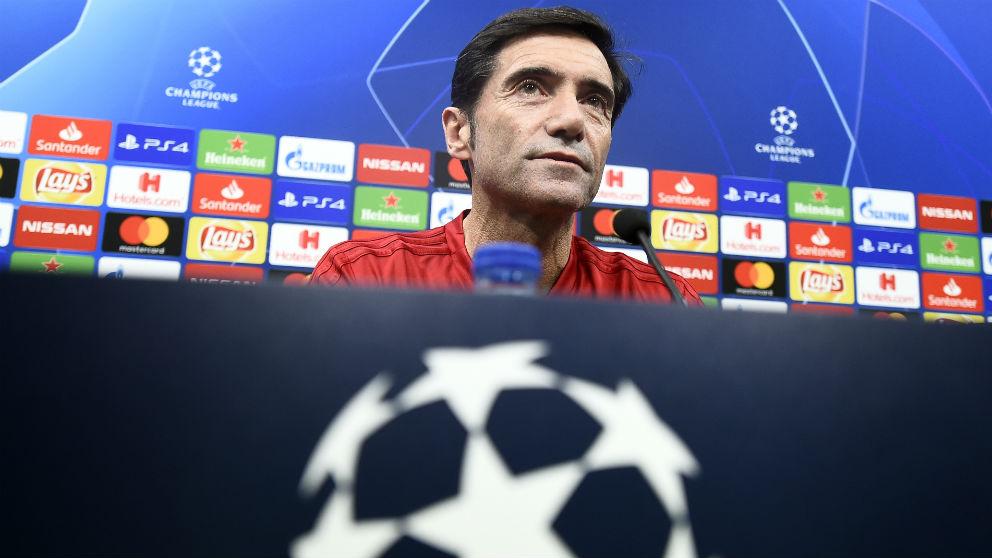 Marcelino García Toral, en la rueda de prensa previa al duelo contra la Juventus. (AFP)