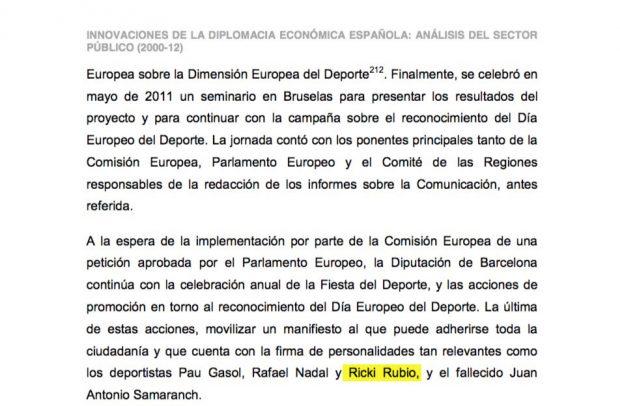 Tesis de Pedro Sánchez con el nombre de Ricky Rubio mal escrito (Ricki).