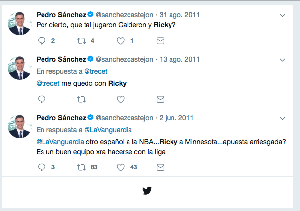 Tweets de Pedro Sánchez sobre Ricky Rubio.