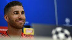 Sergio Ramos, en la rueda de prensa previa al Real Madrid – Roma. (AFP)