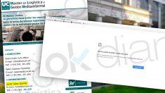 Pantallazos de la web del máster de la Universidad de Cantabria