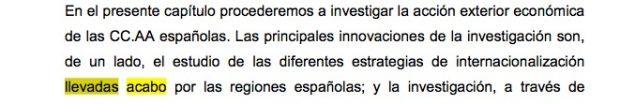 """""""Llevadas a cabo"""" mal escrito en la tesis doctoral de Pedro Sánchez."""