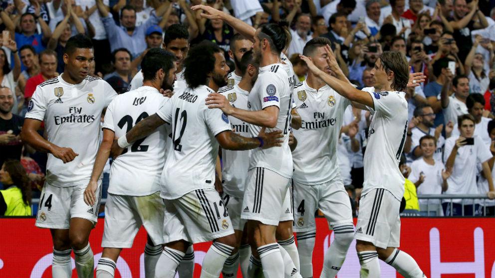 Los jugadores del Real Madrid celebran un gol a la Roma (EFE)