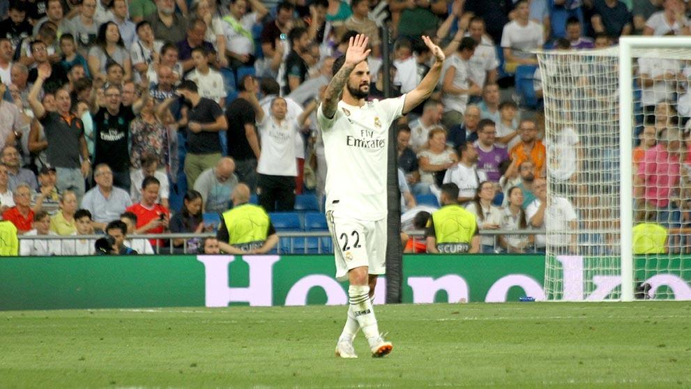 Isco celebra su gol durante el Real Madrid – Roma. (Enrique Falcón)