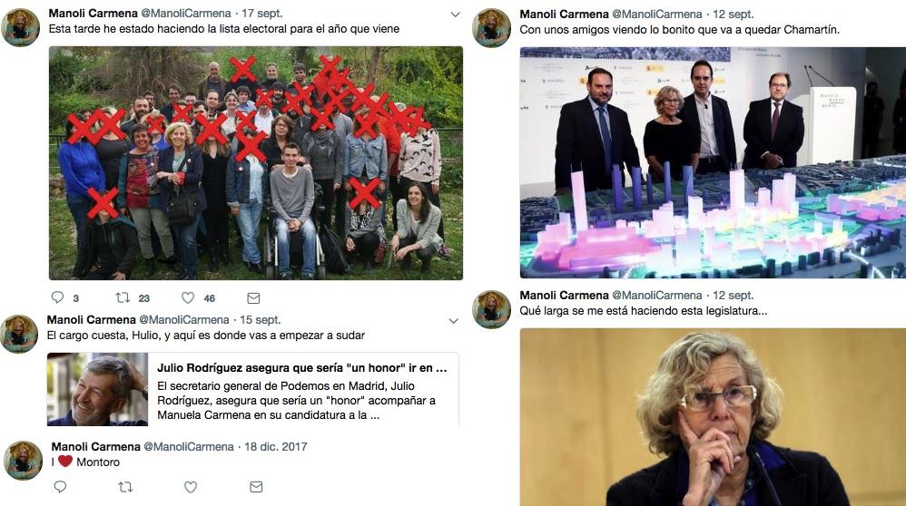 Algunos de los tuits de @ManoliCarmena.