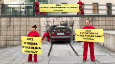 Reivindicación de Greenpeace frente al Museo Reina Sofía. (Foto: Greenpeace)