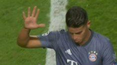 James Rodríguez se marchó vacilando a la afición del Benfica.