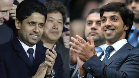 Nasser Al-Khelaifi y Masour Al-Nahyad durante sendos partidos de PSG y Manchester City.