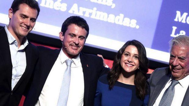 Albert Rivera, Manuel Valls, Inés Arrimadas y Vargas Llosa. (Foto. Cs)