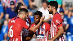 Los jugadores del Atlético celebran el gol frente al Getafe. (AFP)