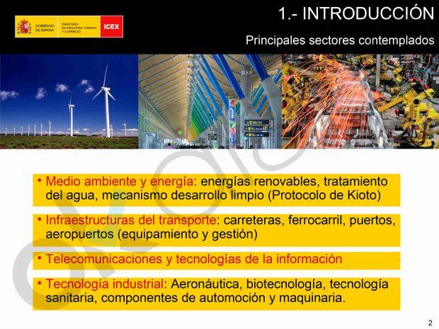 Tercera diapositiva de una presentación del ICEX de noviembre de 200