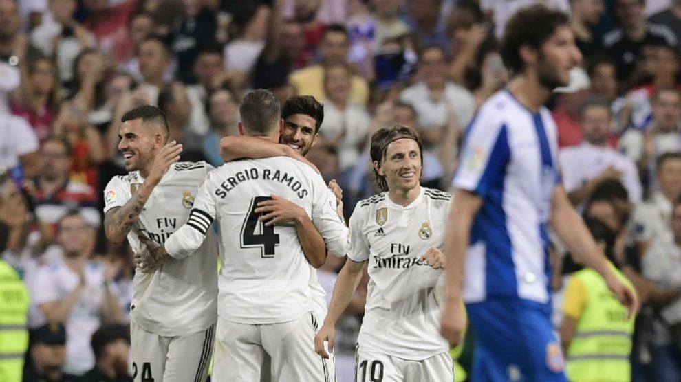 Asensio celebra el gol al Espanyol. (AFP)