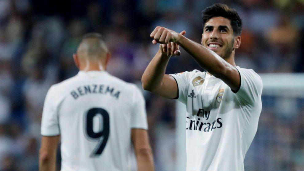 Asensio celebra el 1-0 del Real Madrid ante el Espanyol. (EFE)