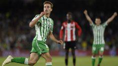 Canales celebra su gol ante el Athletic. (AFP)