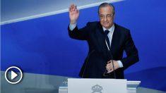 Florentino Pérez dio las gracias a Cristiano durante su discurso en la Asamblea de Socios del Real Madrid. (EFE)