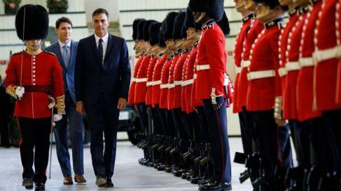 Pedro Sánchez, recibido por el primer ministro de Canadá, Justin Trudeau. Foto: @JustinTrudeau