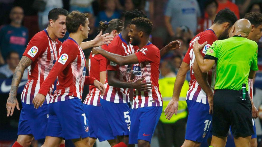 El Atlético de Madrid celebra un gol. (EFE)