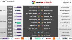 Los horarios de la sexta jornada de Liga Santander.
