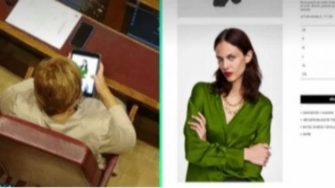 Celia Villalobos captada comprando ropa en el Congreso (La Sexta).